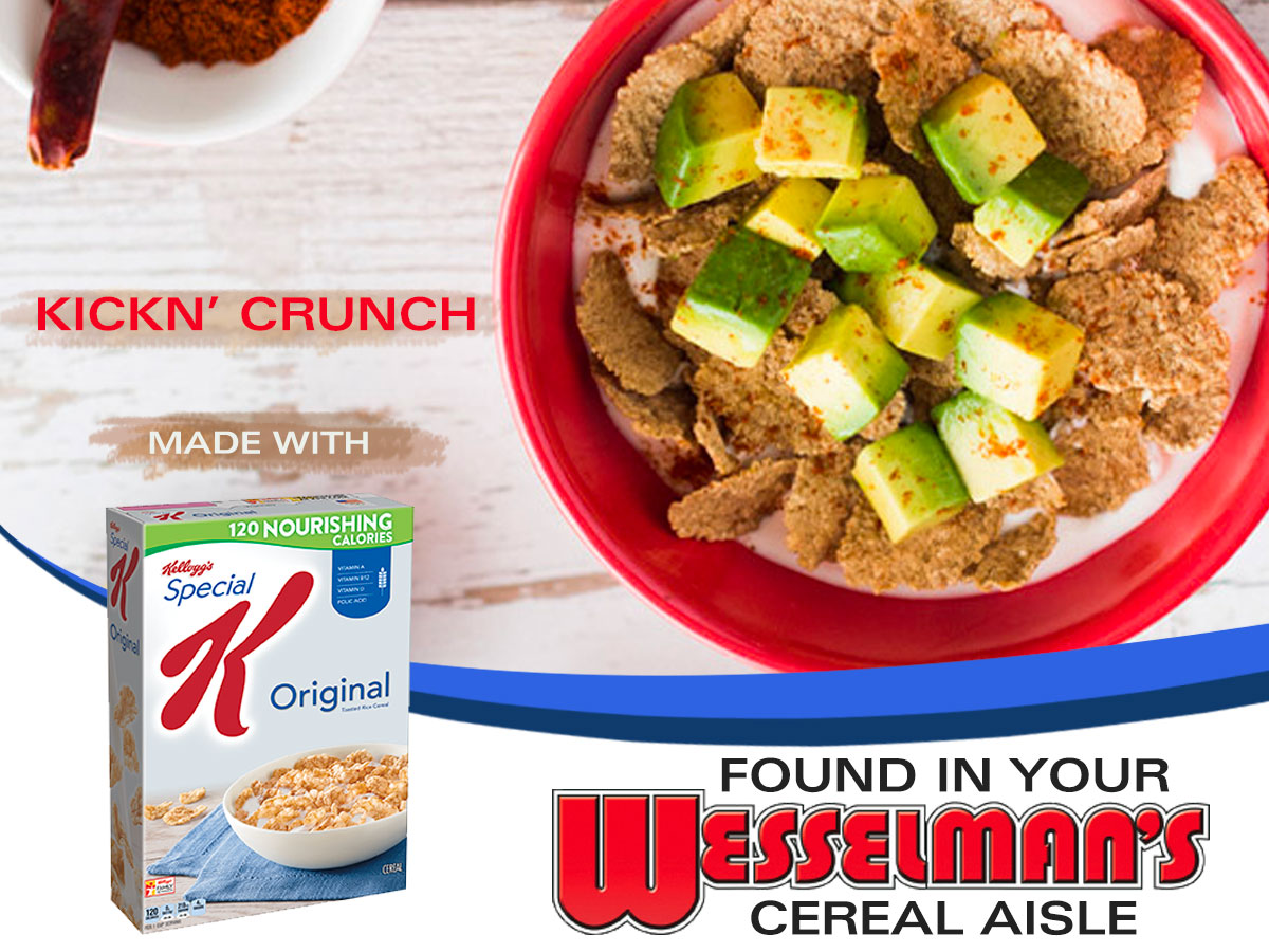 Bowl of Original Special K Cereal with avocado and cayenne pepper.